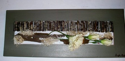 Toile rectangulaire en acrylique fleurs et bois