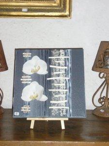 Toile carré en acrylique et orchidées
