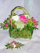 Sac de mariée végétal mousse, rose, hypéricum...et sa boutonnière assortie