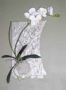 tableau en feuillages naturalisés et ochidée articficielle (vendu)