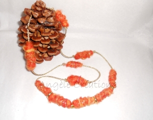 collier mi long  laine orange