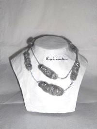 vendu collier laine grise sautoir - Copie