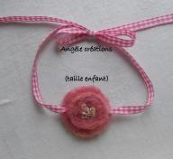 collier en laine feutrée et lien vichy pour enfant (PV25€)