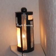 lampe cylindrique en dentelle de carton et papier végétal