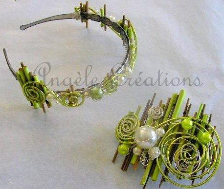 Serre tête et barrette en bambou et perles sur ruban. sur commande