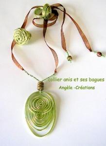pendentif arabesque vert café et s bag