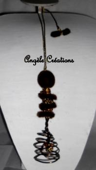vendu collier sautoir tourbillon marron  (2)