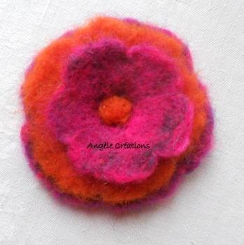 Broche laine bouillie orange rose vif SANS paillette(