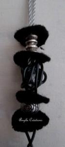 sautoir noir argent perles  noires argent
