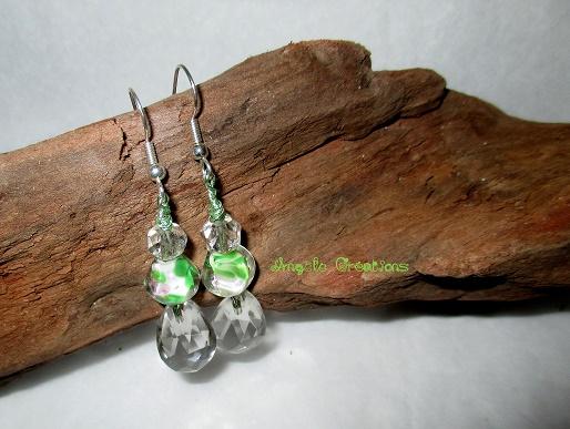 Boucles d'oreille cristal, perles ancienne