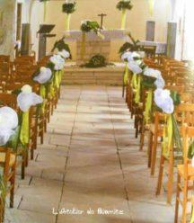 Décoration centrale des bancs d'église