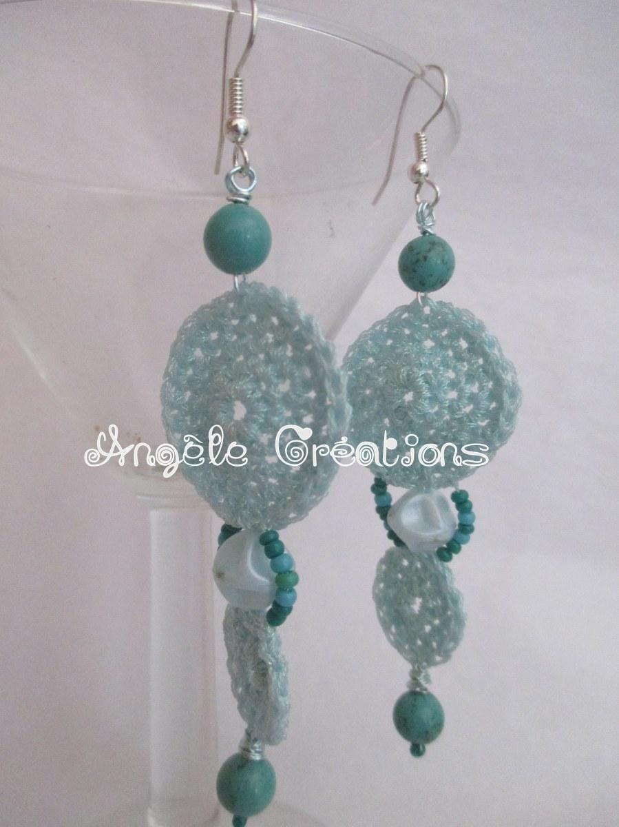 Boucle d'oreilles crochet et turquoise(PV 39€)
