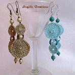 Boucles d'oreilles au crochet et perles turquoise et doré