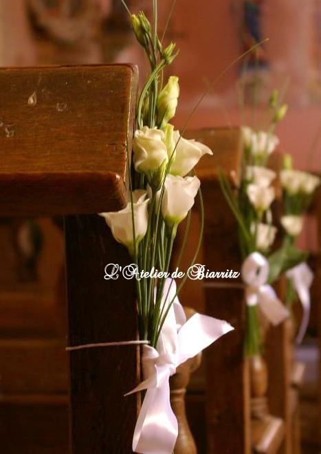 Bout de banc en lisianthus blanc