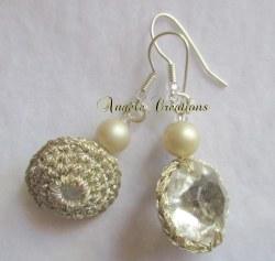 """Boucles d'oreilles""""perles de cristal dorées"""