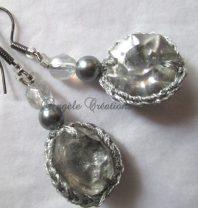 """Boucles d'oreilles """"Perles de cristal""""Ardoise (PV 45€)"""