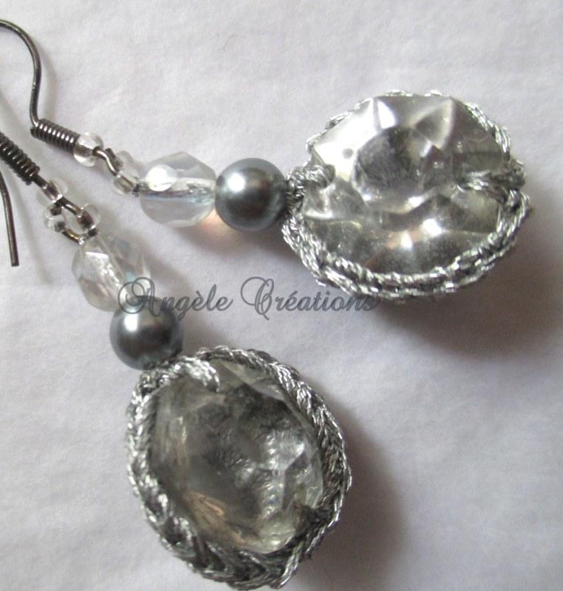 """Boucles d'oreilles """"Perles de cristal""""ardoise"""