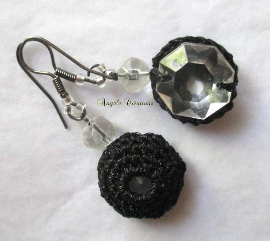 bo noire crochet et cristal pile et face