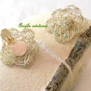 Boucles d'oreilles sur clip en dentelle de laiton