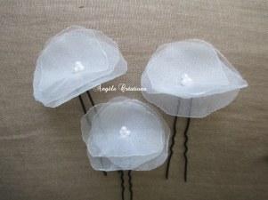 Epingle à cheveux en organdi perlé