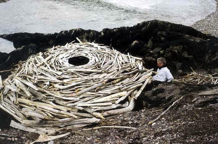 Land'art structure ronde en bois flotté