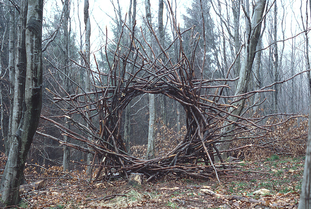 Land'art structure en branchage dans la forêt