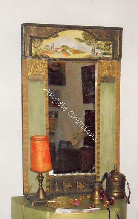 Mon trumeau en carton , paysage peinture acrylique