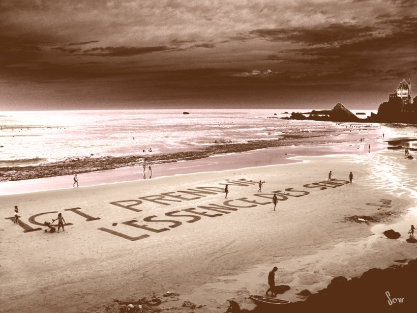 message sur le sable