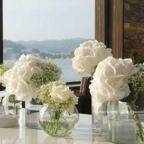 Hortensia blanc en vase boule