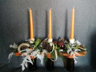 Trio de bougeoirs orange et chocolat