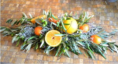 Centre de table champetre en agrumes