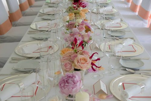 chemin de table tons de roses