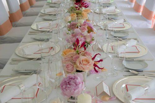 chemin de table tons de roses