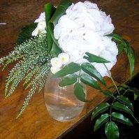 Bouquet en hortensia et bruyère