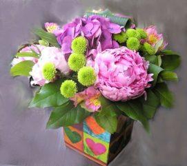 Bouquet de pivoines en boite étanche