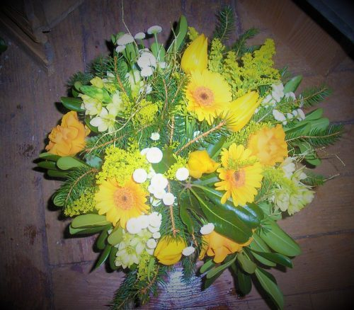 Bouquet rond tons d'agrumes