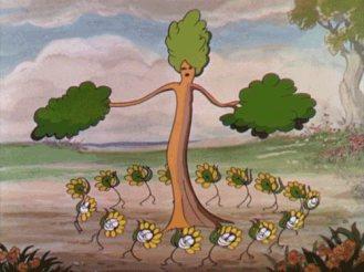 dessin  d'un arbre dansant avec ses amies fleurs autour!