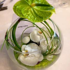 vase boule vert blanc