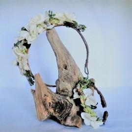 Serre tête et bracelet Fleurs stabilisées pastels